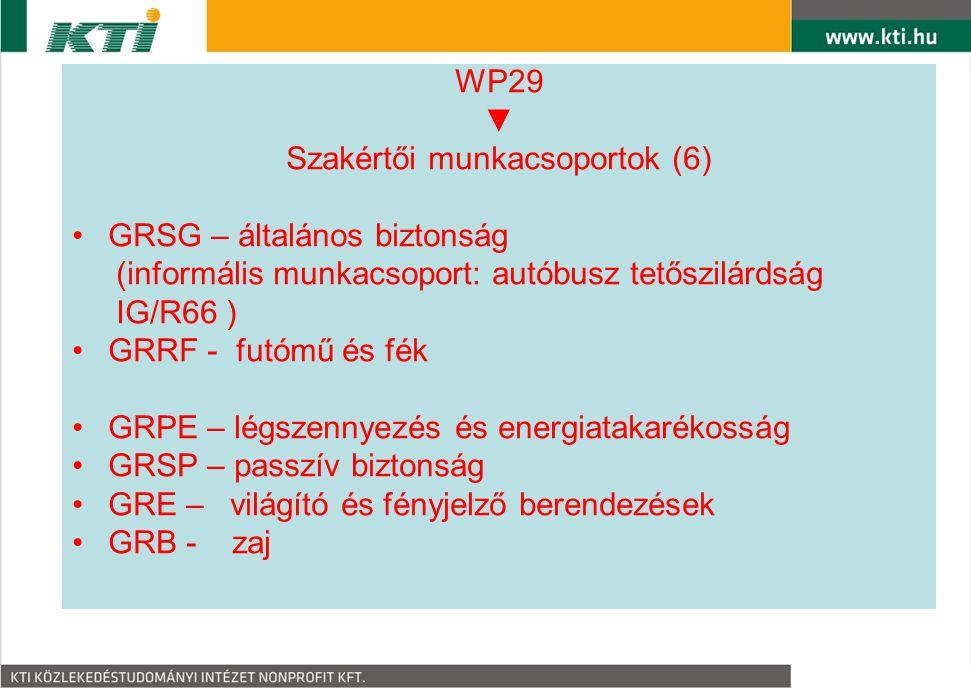 WP29 ▼ Szakértői munkacsoportok (6) GRSG – általános biztonság (informális munkacsoport: autóbusz tetőszilárdság IG/R66 ) GRRF - futómű és fék GRPE –