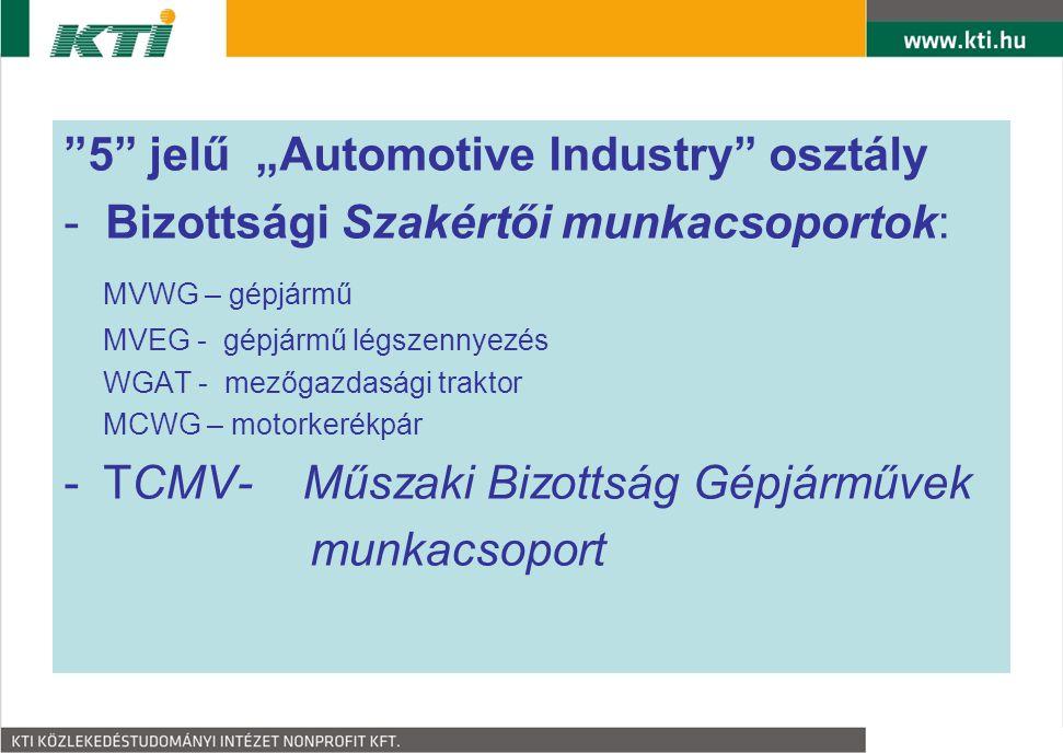 """""""5"""" jelű """"Automotive Industry"""" osztály - Bizottsági Szakértői munkacsoportok: MVWG – gépjármű MVEG - gépjármű légszennyezés WGAT - mezőgazdasági trakt"""