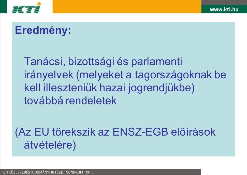Eredmény: Tanácsi, bizottsági és parlamenti irányelvek (melyeket a tagországoknak be kell illeszteniük hazai jogrendjükbe) továbbá rendeletek (Az EU t