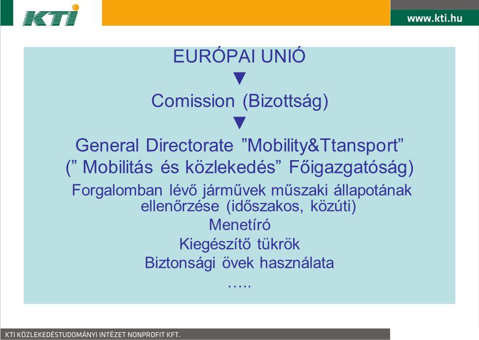 """EURÓPAI UNIÓ ▼ Comission (Bizottság) ▼ General Directorate """"Mobility&Ttansport"""" ("""" Mobilitás és közlekedés"""" Főigazgatóság) Forgalomban lévő járművek m"""