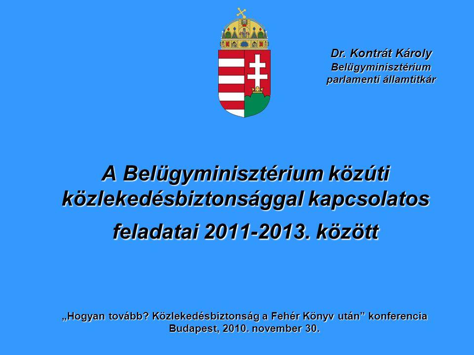 """A Belügyminisztérium közúti közlekedésbiztonsággal kapcsolatos feladatai 2011-2013. között """"Hogyan tovább? Közlekedésbiztonság a Fehér Könyv után"""" kon"""