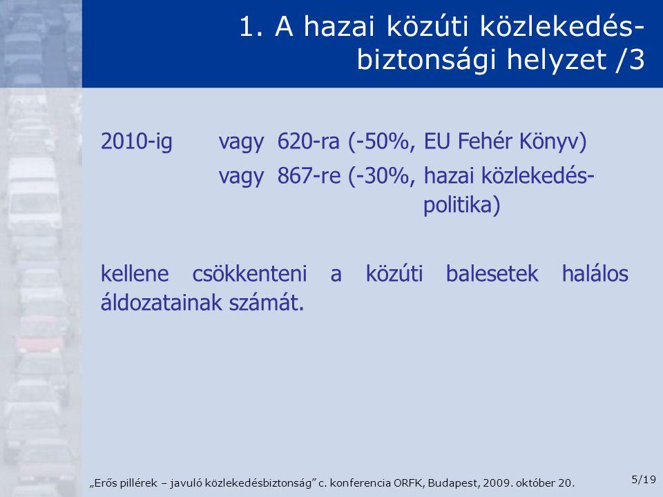 """""""Erős pillérek – javuló közlekedésbiztonság"""" c. konferencia ORFK, Budapest, 2009. október 20. 5/19 1. A hazai közúti közlekedés- biztonsági helyzet /3"""