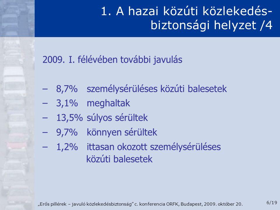 """""""Erős pillérek – javuló közlekedésbiztonság"""" c. konferencia ORFK, Budapest, 2009. október 20. 6/19 1. A hazai közúti közlekedés- biztonsági helyzet /4"""