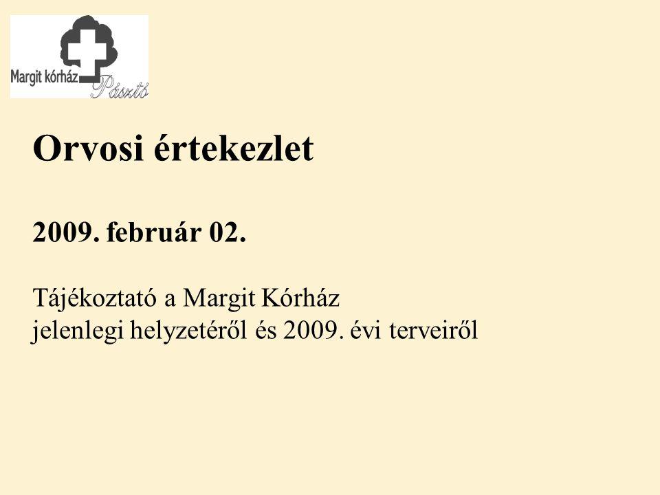 Orvosi értekezlet 2009. február 02. Tájékoztató a Margit Kórház jelenlegi helyzetéről és 2009.