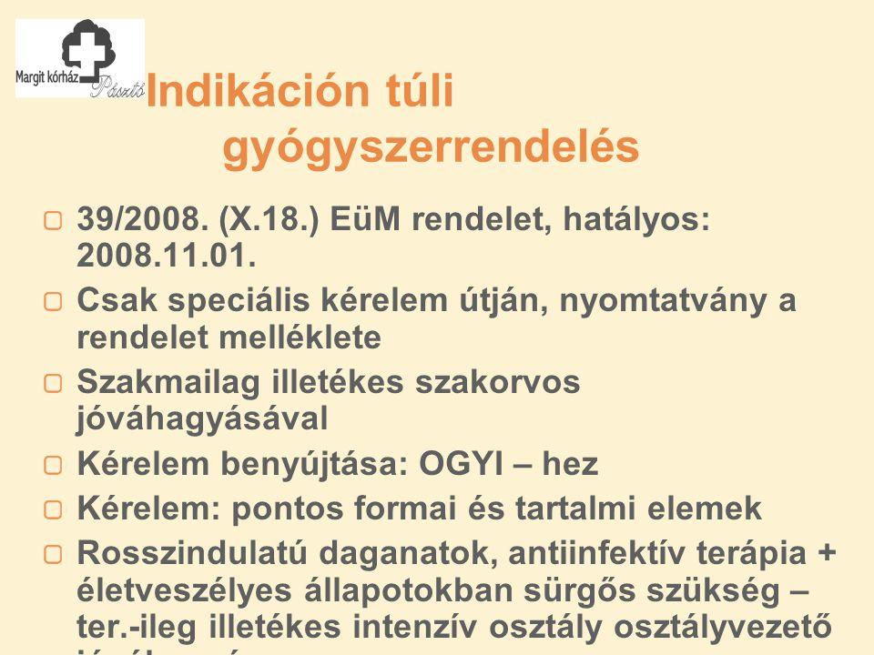 Indikáción túli gyógyszerrendelés 39/2008. (X.18.) EüM rendelet, hatályos: 2008.11.01.