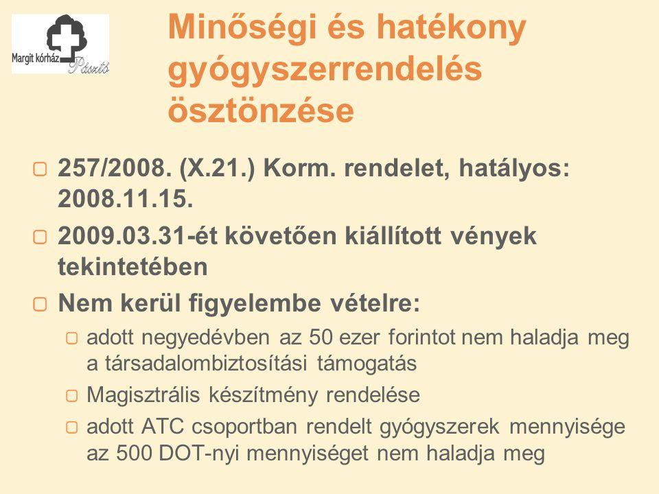 Minőségi és hatékony gyógyszerrendelés ösztönzése 257/2008.