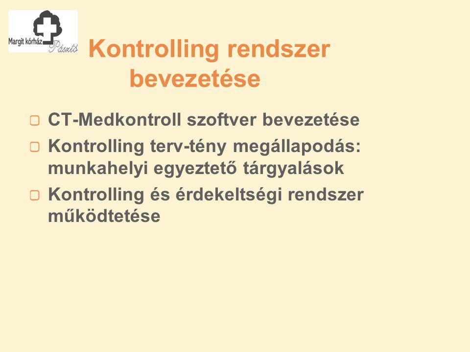 Kontrolling rendszer bevezetése CT-Medkontroll szoftver bevezetése Kontrolling terv-tény megállapodás: munkahelyi egyeztető tárgyalások Kontrolling és érdekeltségi rendszer működtetése