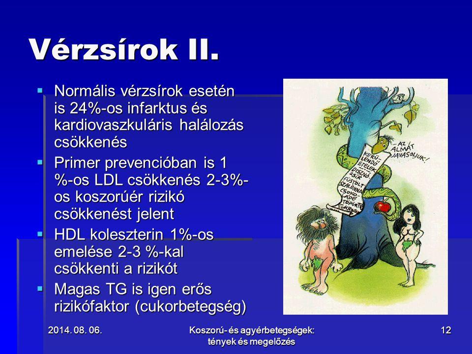 2014. 08. 06.2014. 08. 06.2014. 08. 06.Koszorú- és agyérbetegségek: tények és megelőzés 12 Vérzsírok II.  Normális vérzsírok esetén is 24%-os infarkt