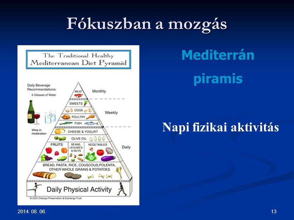 2014. 08. 06. 13 Fókuszban a mozgás Mediterrán piramis Napi fizikai aktivitás