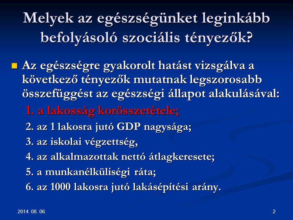2014. 08. 06. 2 Melyek az egészségünket leginkább befolyásoló szociális tényezők? Az egészségre gyakorolt hatást vizsgálva a következő tényezők mutatn