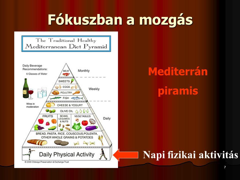 7 Fókuszban a mozgás Mediterrán piramis Napi fizikai aktivitás