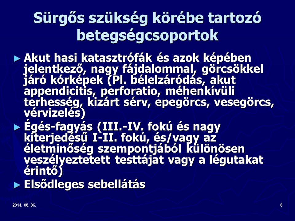 2014. 08. 06.8 Sürgős szükség körébe tartozó betegségcsoportok ► Akut hasi katasztrófák és azok képében jelentkező, nagy fájdalommal, görcsökkel járó