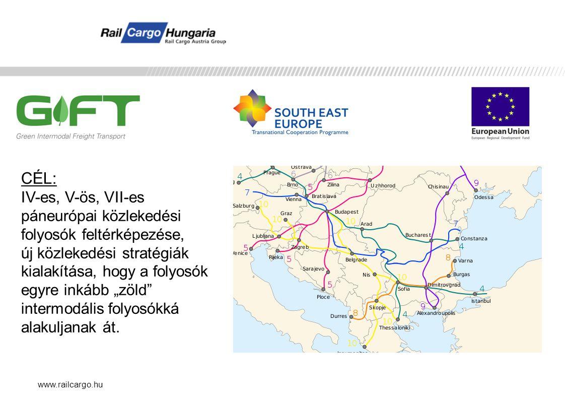 www.railcargo.hu CÉL: IV-es, V-ös, VII-es páneurópai közlekedési folyosók feltérképezése, új közlekedési stratégiák kialakítása, hogy a folyosók egyre