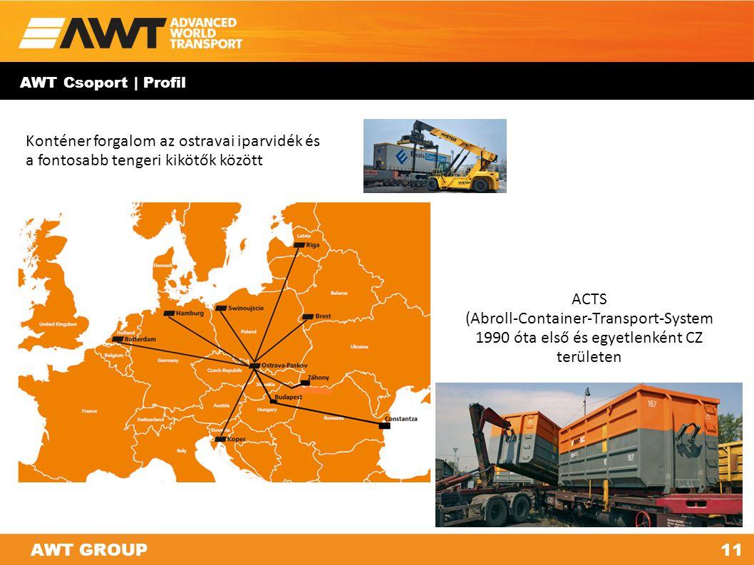 AWT GROUP AWT Csoport | Profil 11AWT GROUP Konténer forgalom az ostravai iparvidék és a fontosabb tengeri kikötők között ACTS (Abroll-Container-Transp