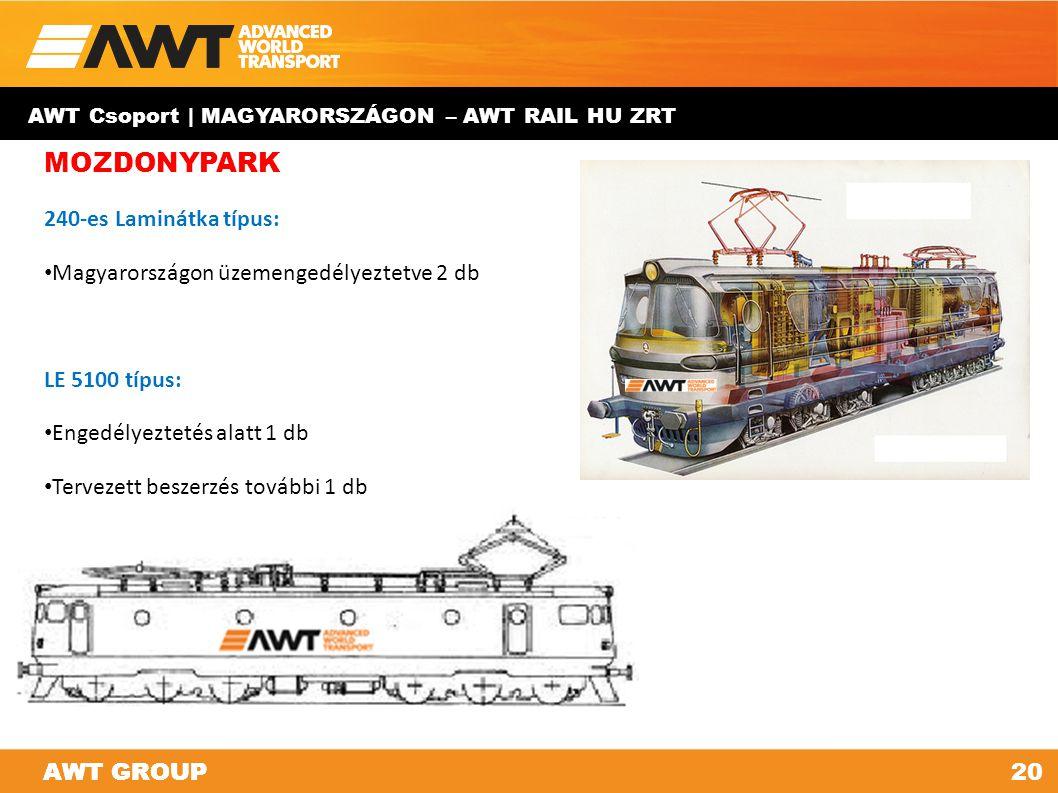 AWT GROUP20AWT GROUP AWT Csoport | MAGYARORSZÁGON – AWT RAIL HU ZRT MOZDONYPARK 240-es Laminátka típus: Magyarországon üzemengedélyeztetve 2 db LE 510