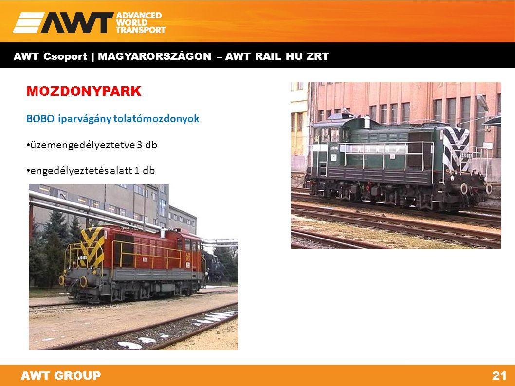 AWT GROUP21AWT GROUP AWT Csoport | MAGYARORSZÁGON – AWT RAIL HU ZRT MOZDONYPARK BOBO iparvágány tolatómozdonyok üzemengedélyeztetve 3 db engedélyeztet
