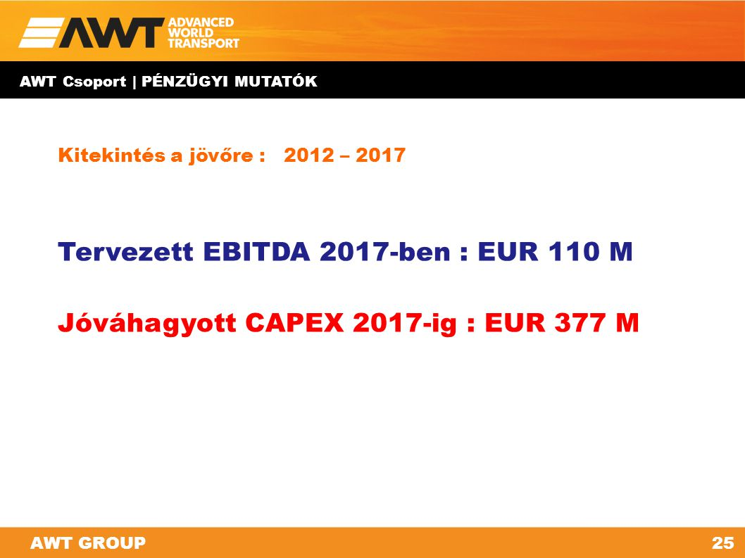 AWT GROUP25AWT GROUP Kitekintés a jövőre : 2012 – 2017 Tervezett EBITDA 2017-ben : EUR 110 M Jóváhagyott CAPEX 2017-ig : EUR 377 M AWT Csoport | PÉNZÜ