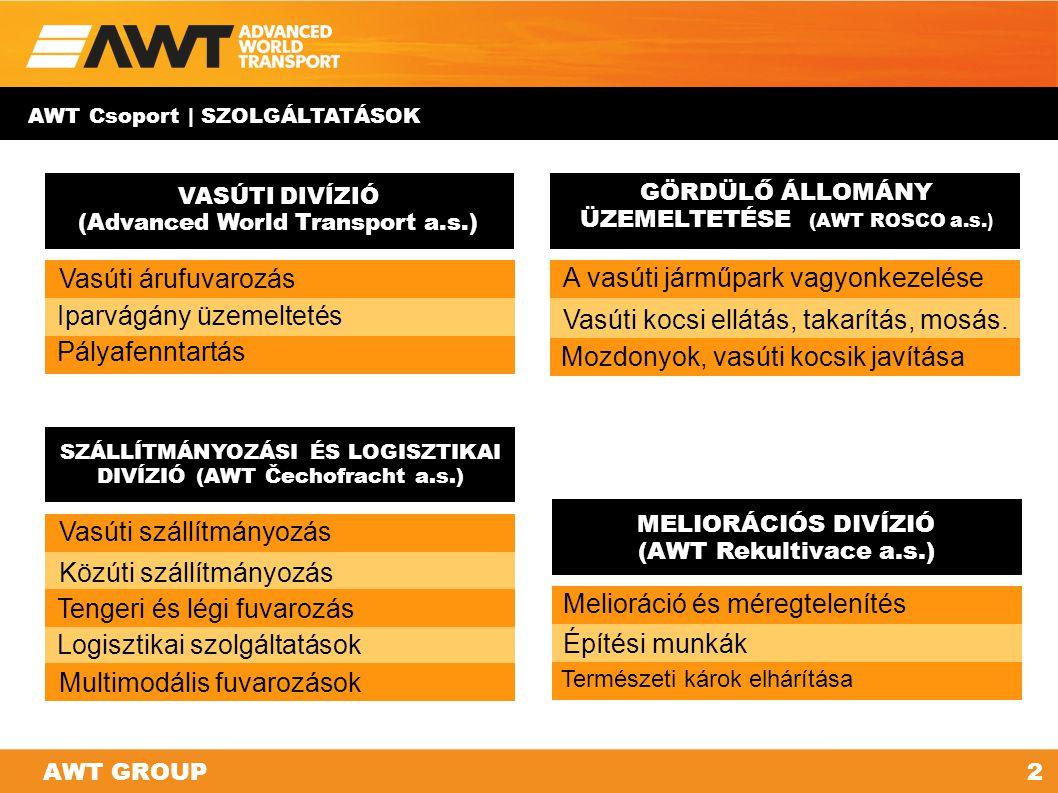 VASÚTI DIVÍZIÓ (Advanced World Transport a.s.) GÖRDÜLŐ ÁLLOMÁNY ÜZEMELTETÉSE (AWT ROSCO a.s. ) MELIORÁCIÓS DIVÍZIÓ (AWT Rekultivace a.s.) SZÁLLÍTMÁNYO