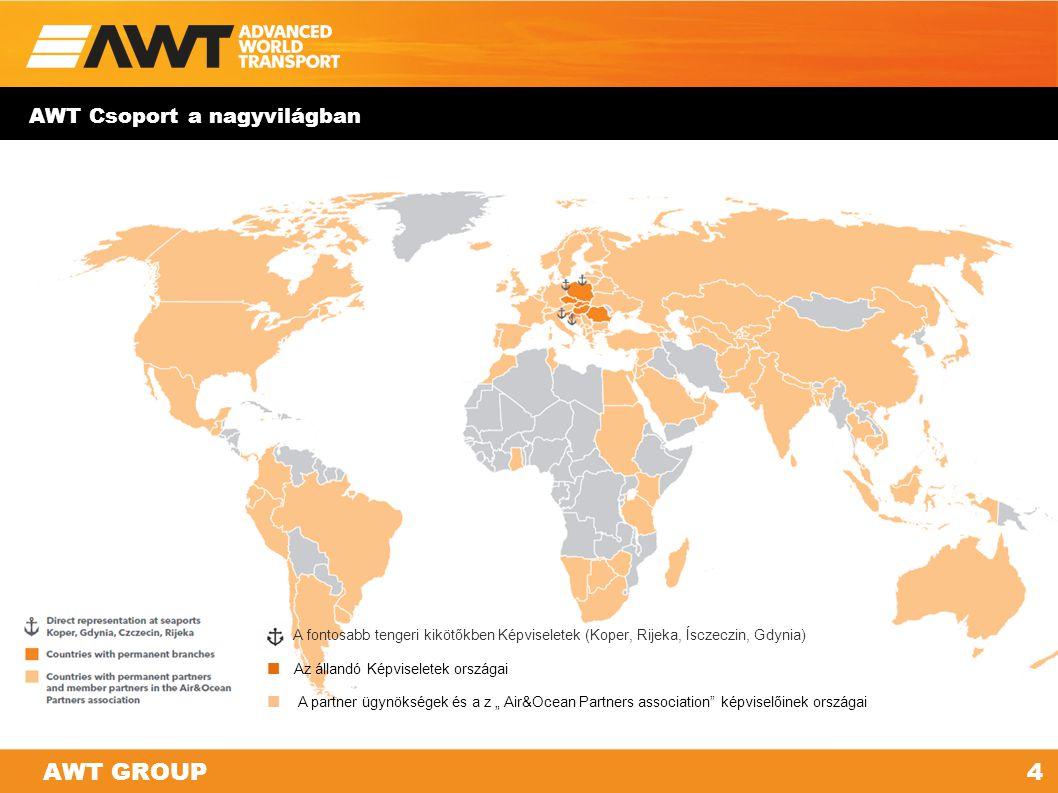 AWT GROUP AWT Csoport a nagyvilágban 4 A fontosabb tengeri kikötőkben Képviseletek (Koper, Rijeka, Ísczeczin, Gdynia) Az állandó Képviseletek országai