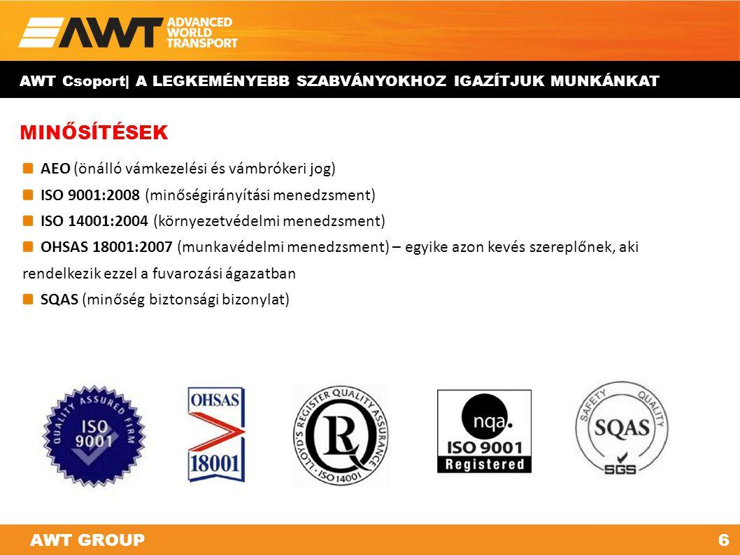 MINŐSÍTÉSEK AEO (önálló vámkezelési és vámbrókeri jog) ISO 9001:2008 (minőségirányítási menedzsment) ISO 14001:2004 (környezetvédelmi menedzsment) OHS
