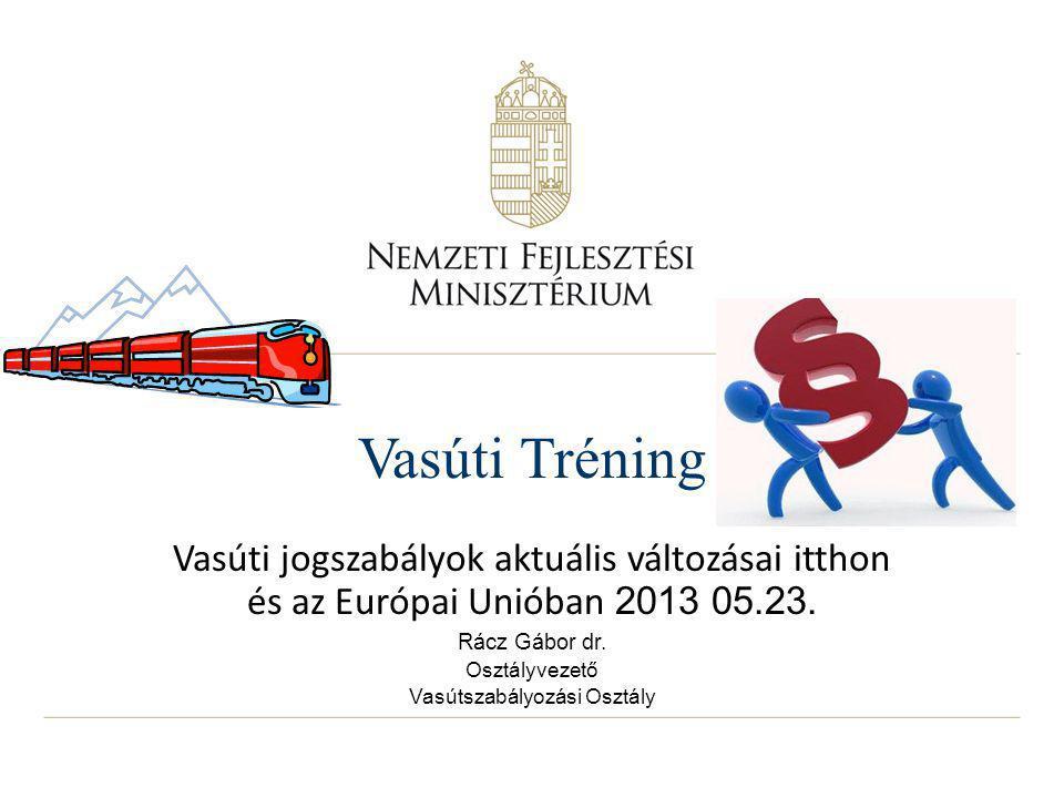 Vasúti Tréning Vasúti jogszabályok aktuális változásai itthon és az Európai Unióban 2013 05.23.