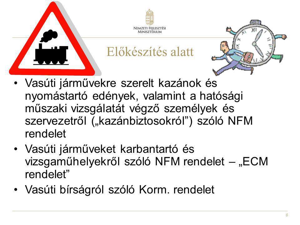 """6 Előkészítés alatt Vasúti járművekre szerelt kazánok és nyomástartó edények, valamint a hatósági műszaki vizsgálatát végző személyek és szervezetről (""""kazánbiztosokról ) szóló NFM rendelet Vasúti járműveket karbantartó és vizsgaműhelyekről szóló NFM rendelet – """"ECM rendelet Vasúti bírságról szóló Korm."""