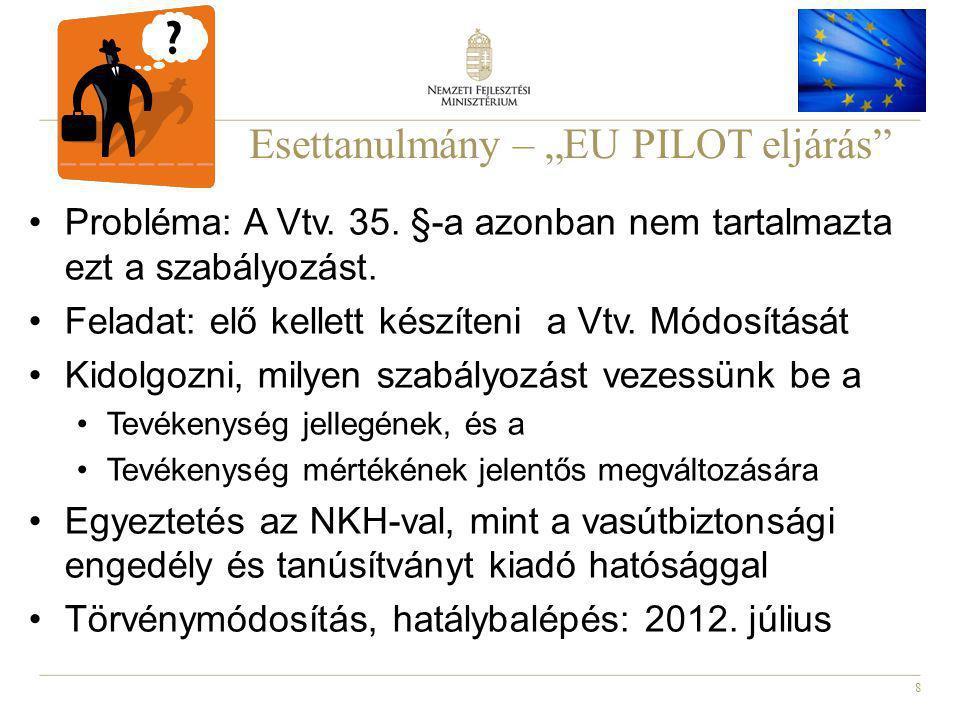 """8 Esettanulmány – """"EU PILOT eljárás Probléma: A Vtv."""