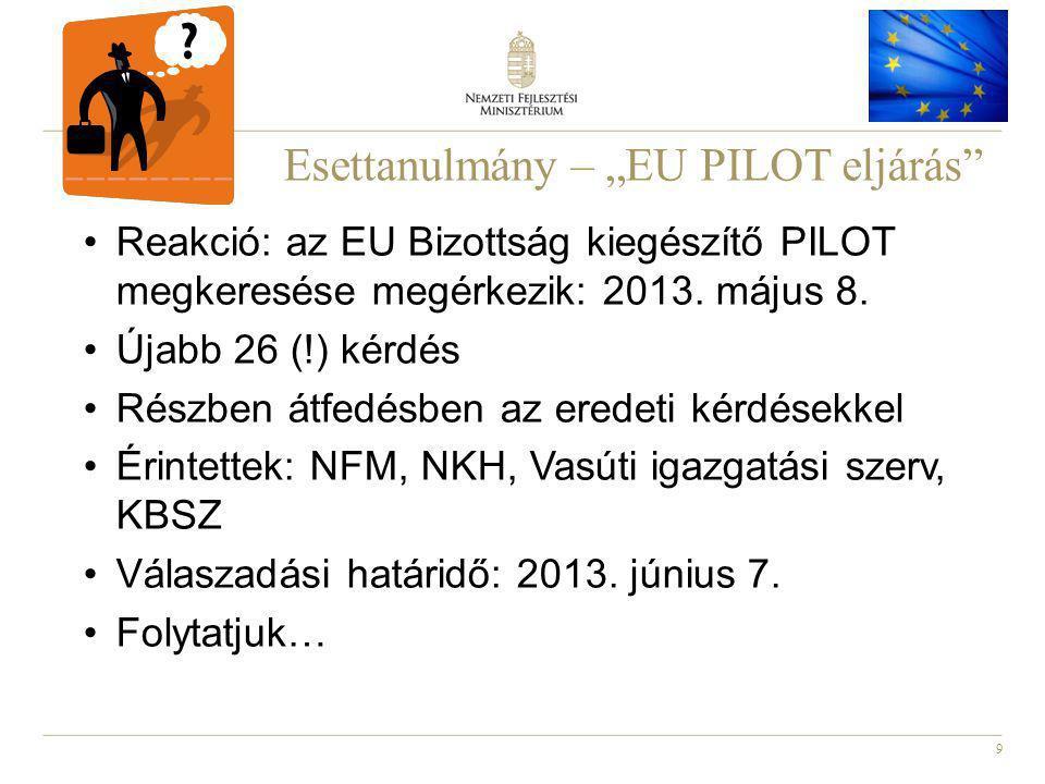 """9 Esettanulmány – """"EU PILOT eljárás Reakció: az EU Bizottság kiegészítő PILOT megkeresése megérkezik: 2013."""