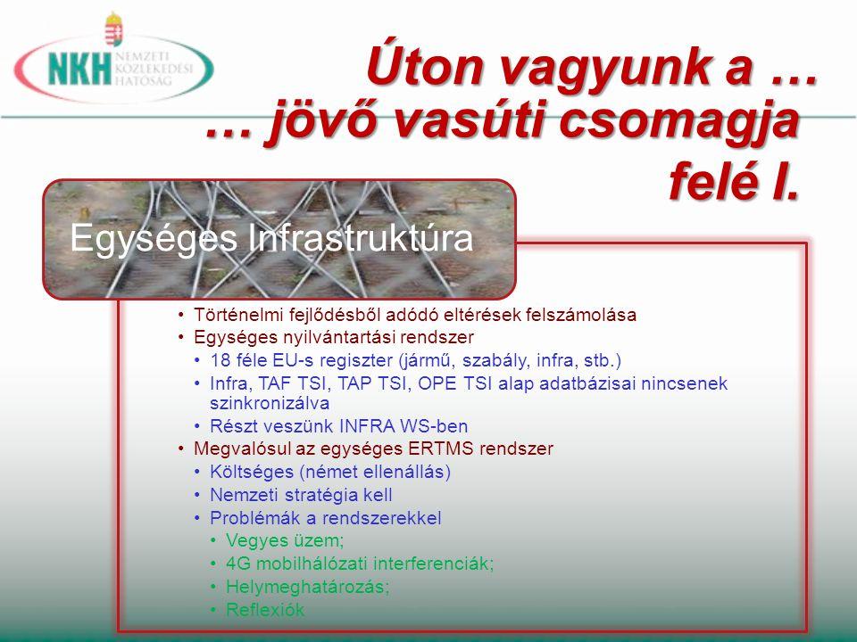 … jövő vasúti csomagja felé I. Történelmi fejlődésből adódó eltérések felszámolása Egységes nyilvántartási rendszer 18 féle EU-s regiszter (jármű, sza