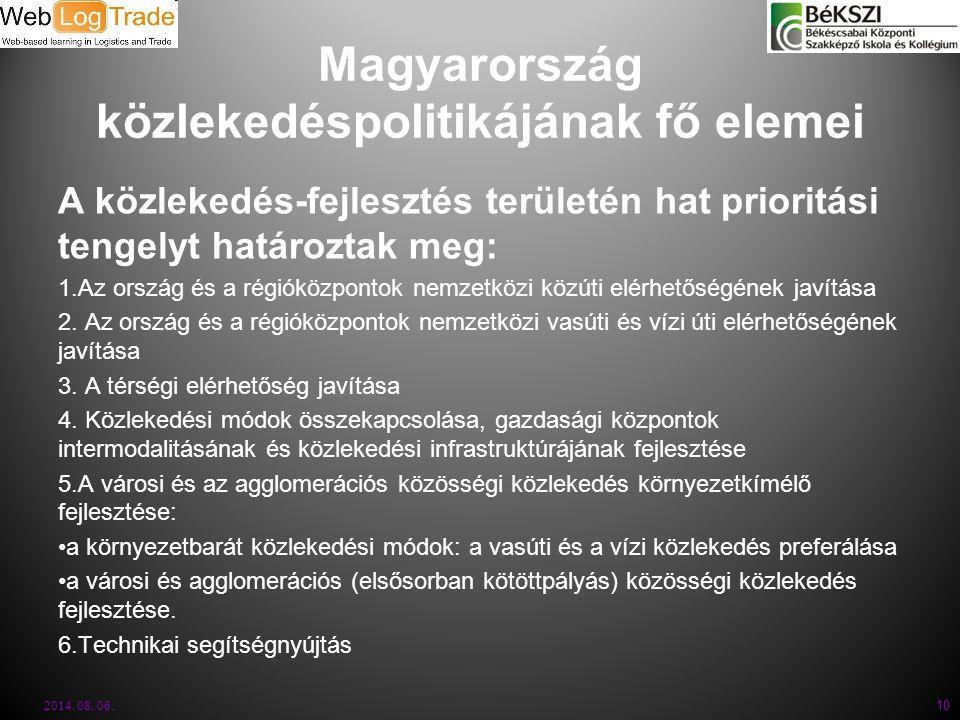 Magyarország közlekedéspolitikájának fő elemei A közlekedés-fejlesztés területén hat prioritási tengelyt határoztak meg: 1.Az ország és a régióközpont