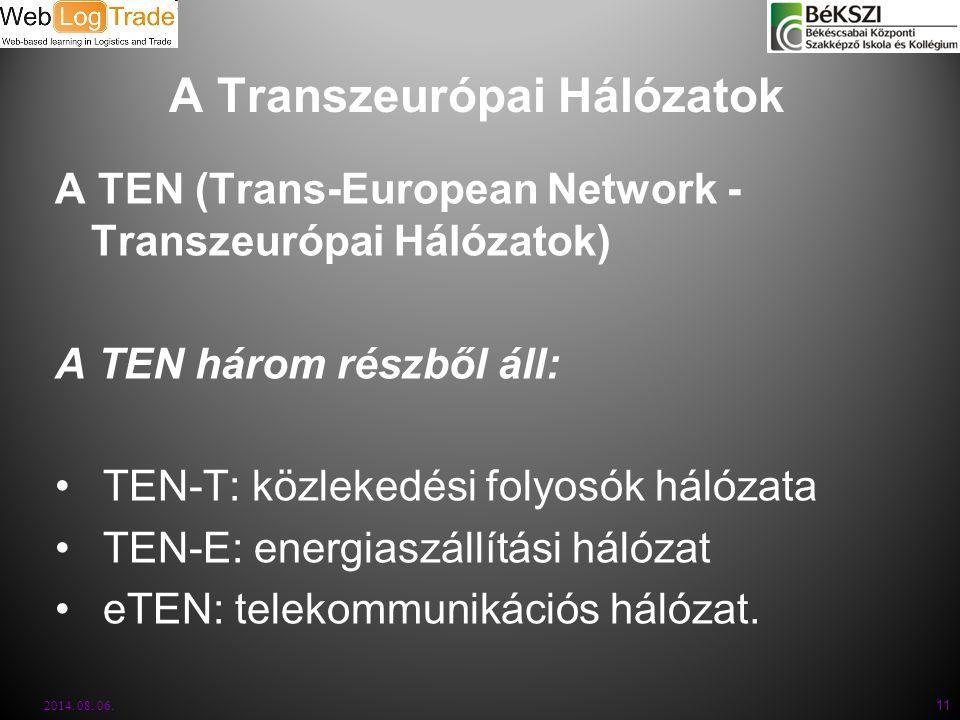 A Transzeurópai Hálózatok A TEN (Trans-European Network - Transzeurópai Hálózatok) A TEN három részből áll: TEN-T: közlekedési folyosók hálózata TEN-E