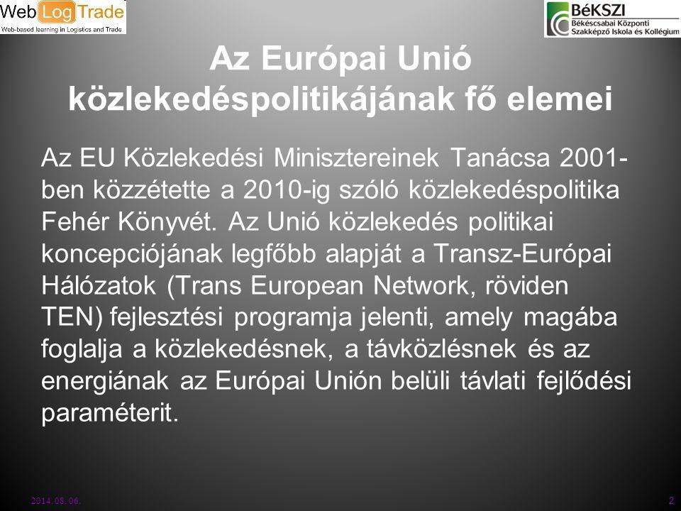 2014. 08. 06. 2 Az Európai Unió közlekedéspolitikájának fő elemei Az EU Közlekedési Minisztereinek Tanácsa 2001- ben közzétette a 2010-ig szóló közlek