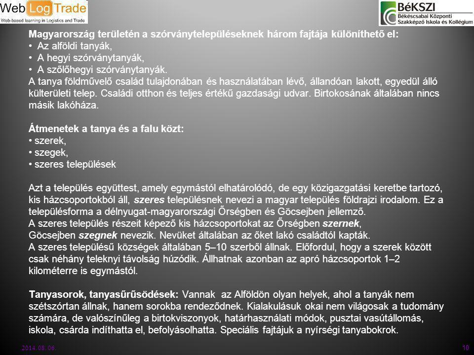 Magyarország területén a szórványtelepüléseknek három fajtája különíthető el: Az alföldi tanyák, A hegyi szórványtanyák, A szőlőhegyi szórványtanyák.