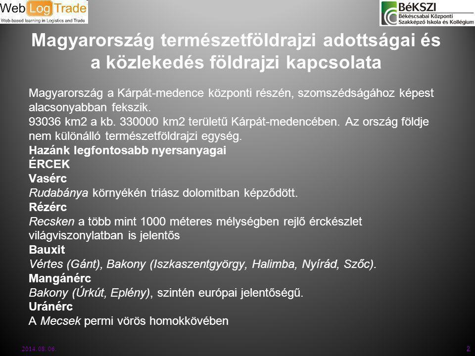 Magyarország természetföldrajzi adottságai és a közlekedés földrajzi kapcsolata Magyarország a Kárpát-medence központi részén, szomszédságához képest