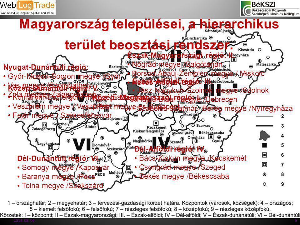 Magyarország települései, a hierarchikus terület beosztási rendszer. 2014. 08. 06. 6 Közép- Magyarországi régió: I. Pest megye és Budapest Közép-Dunán
