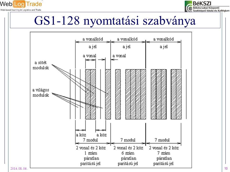 2014. 08. 06. 10 GS1-128 nyomtatási szabványa