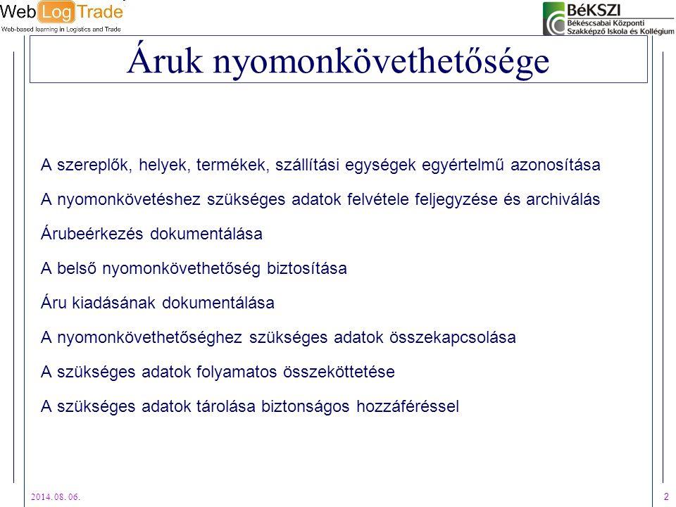 2014. 08. 06. 2 Áruk nyomonkövethetősége A szereplők, helyek, termékek, szállítási egységek egyértelmű azonosítása A nyomonkövetéshez szükséges adatok