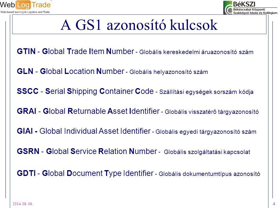 2014. 08. 06. 4 A GS1 azonosító kulcsok GTIN - Global Trade Item Number - Globális kereskedelmi áruazonosító szám GLN - Global Location Number - Globá