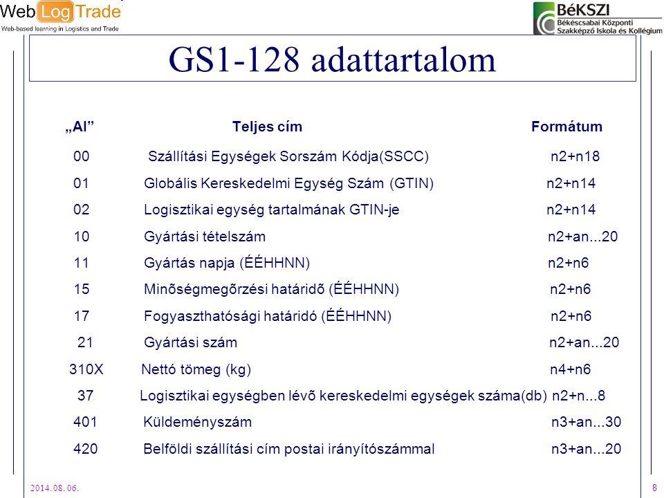 """2014. 08. 06. 8 GS1-128 adattartalom """"AI"""" Teljes cím Formátum 00 Szállítási Egységek Sorszám Kódja(SSCC) n2+n18 01 Globális Kereskedelmi Egység Szám ("""