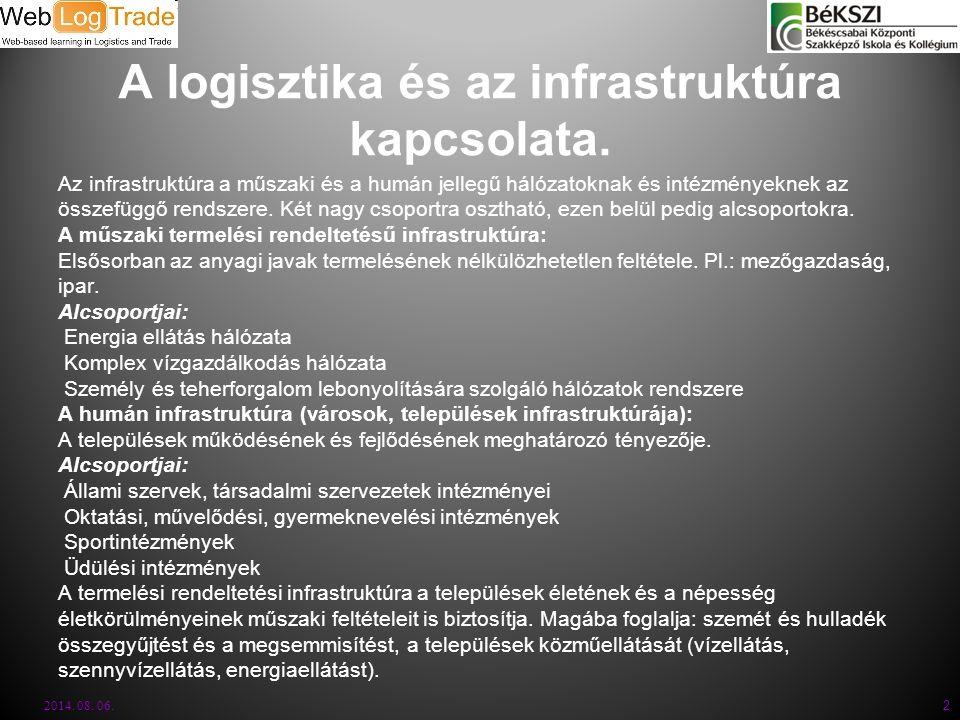 2014. 08. 06. 2 A logisztika és az infrastruktúra kapcsolata. Az infrastruktúra a műszaki és a humán jellegű hálózatoknak és intézményeknek az összefü