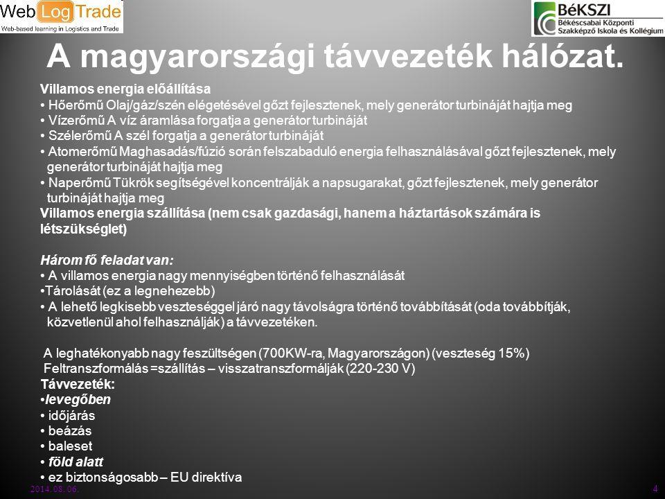 A magyarországi távvezeték hálózat. Villamos energia előállítása Hőerőmű Olaj/gáz/szén elégetésével gőzt fejlesztenek, mely generátor turbináját hajtj