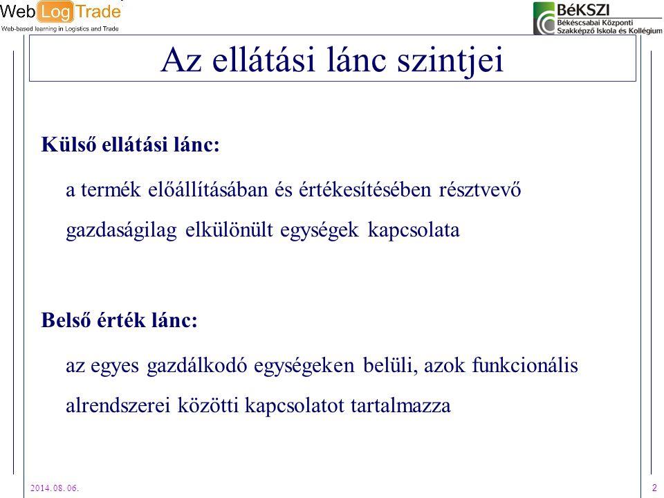 2014. 08. 06. 2 Az ellátási lánc szintjei Külső ellátási lánc: a termék előállításában és értékesítésében résztvevő gazdaságilag elkülönült egységek k