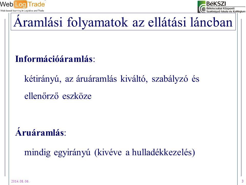 2014. 08. 06. 3 Áramlási folyamatok az ellátási láncban Információáramlás: kétirányú, az áruáramlás kiváltó, szabályzó és ellenőrző eszköze Áruáramlás