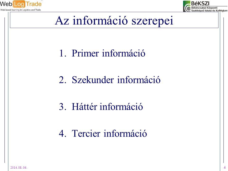 2014. 08. 06. 4 Az információ szerepei 1.Primer információ 2.Szekunder információ 3.Háttér információ 4.Tercier információ