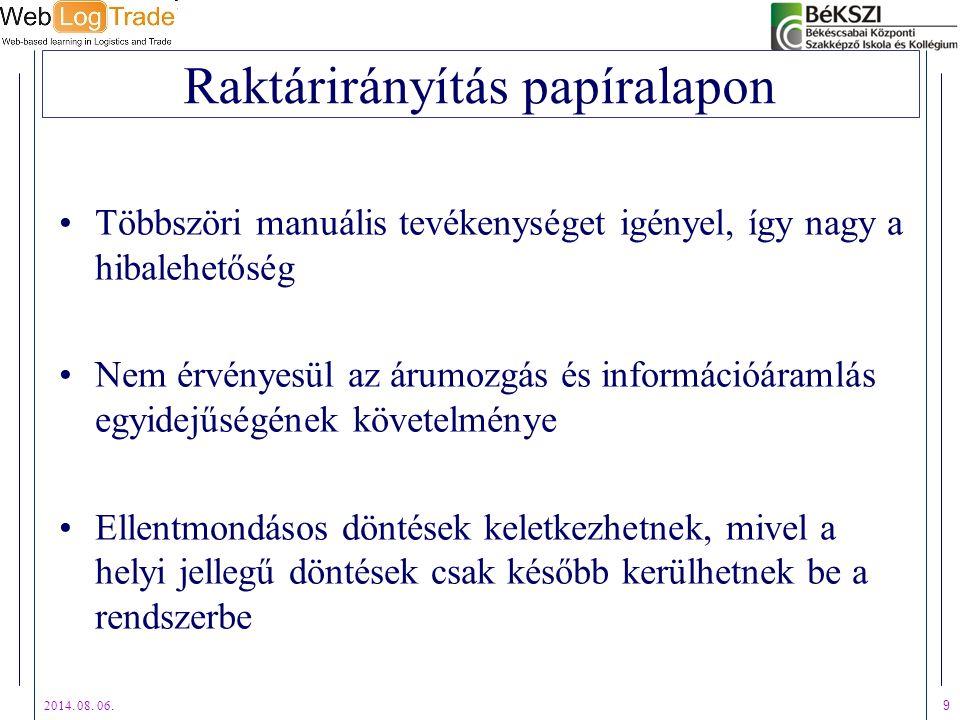 2014. 08. 06. 9 Raktárirányítás papíralapon Többszöri manuális tevékenységet igényel, így nagy a hibalehetőség Nem érvényesül az árumozgás és informác