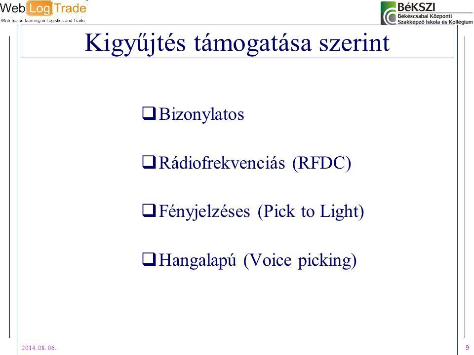 2014. 08. 06. 9 Kigyűjtés támogatása szerint  Bizonylatos  Rádiofrekvenciás (RFDC)  Fényjelzéses (Pick to Light)  Hangalapú (Voice picking)