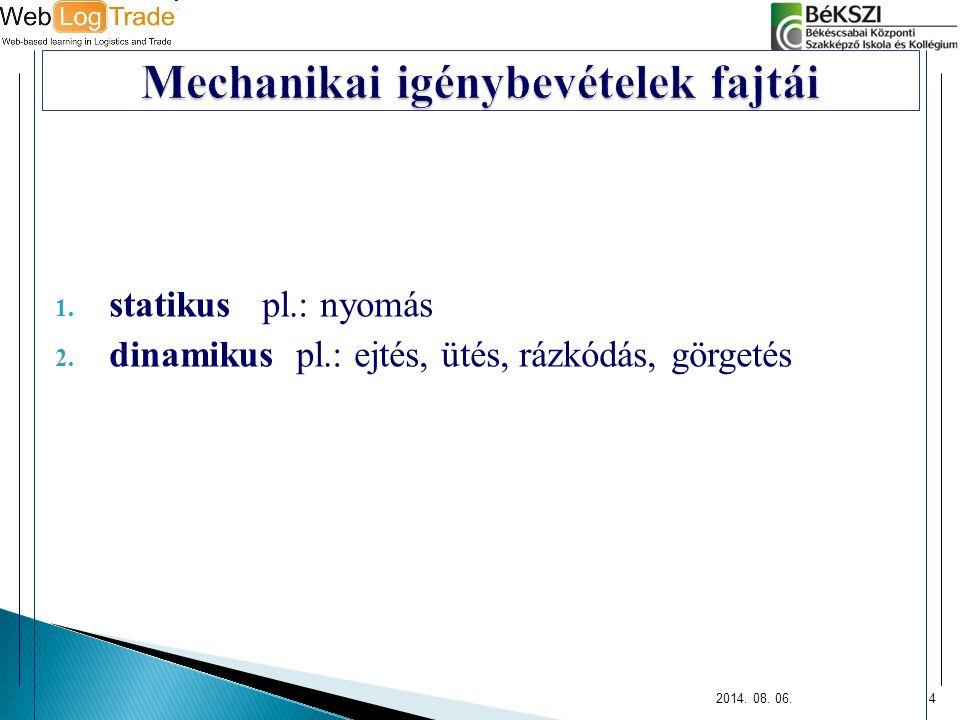 1. statikus pl.: nyomás 2. dinamikus pl.: ejtés, ütés, rázkódás, görgetés 2014. 08. 06.4
