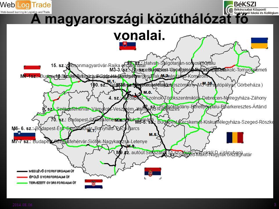 A magyarországi közúthálózat fő vonalai.2014. 08.
