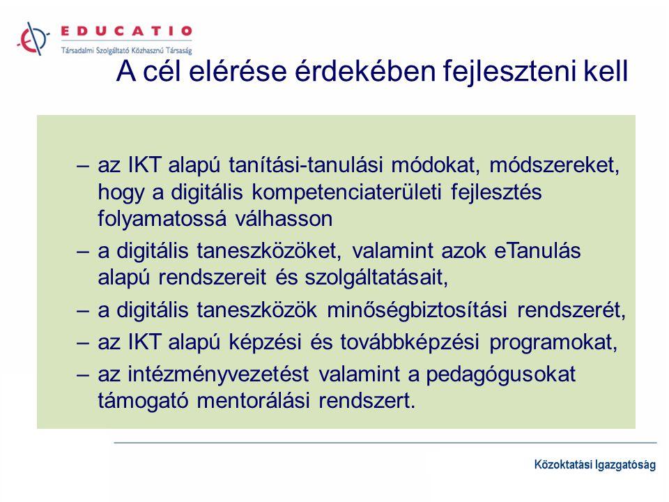 A cél elérése érdekében fejleszteni kell –az IKT alapú tanítási-tanulási módokat, módszereket, hogy a digitális kompetenciaterületi fejlesztés folyamatossá válhasson –a digitális taneszközöket, valamint azok eTanulás alapú rendszereit és szolgáltatásait, –a digitális taneszközök minőségbiztosítási rendszerét, –az IKT alapú képzési és továbbképzési programokat, –az intézményvezetést valamint a pedagógusokat támogató mentorálási rendszert.