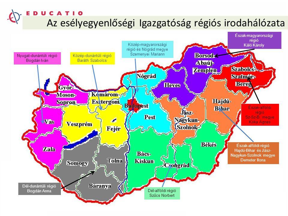Az esélyegyenlőségi Igazgatóság régiós irodahálózata Nyugat-dunántúli régió Bogdán Iván Közép-dunántúli régió Baráth Szabolcs Dél-dunántúli régió Bogdán Anna Dél-alföldi régió Szűcs Norbert Észak-alföldi régió Hajdú-Bihar és Jász- Nagykun-Szolnok megye Demeter Ilona Észak-alföldi régió Sz-Sz-B.